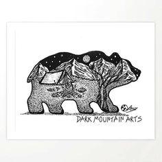 """Wander Bear"" Hand-Drawn by Dark Mountain Arts Canvas Print by darkmountainarts Dark Mountains, Mountain Art, Bear Art, African Elephant, Beach Towel, Canvas Art Prints, Coloring Books, Original Artwork, How To Draw Hands"