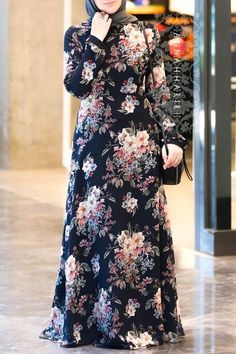 Modest wear, Muslim clothing, maxi black floral dress, Hijab suitable for summer and warm weather. Hijab Dress Party, Hijab Style Dress, Abaya Fashion, Women's Fashion Dresses, Dress Outfits, Muslim Women Fashion, Islamic Fashion, Cheap Maxi Dresses, Modest Dresses