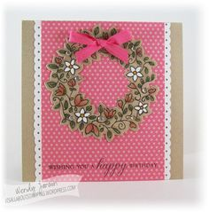 handmade card ... pink and kraft ... Circle of Spring wreath on polka dot paper ... lu the coloring on kraft .. Stampin' Up!
