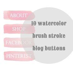 10 Water Color Brush Stroke Blog Buttons, Social Media & Site Navigation. $6.00, via Etsy.