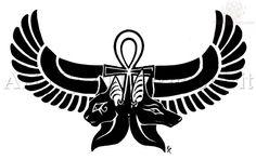 Anubis Bastet And Ankh Tattoo Design