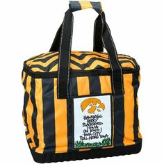 Iowa Hawkeyes Team Motto Striped Cooler Tote