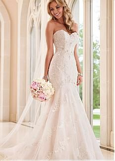 Elegant Tulle & Organza Sweetheart Neckline Natural Waistline Mermaid Wedding Dress With Beaded Lace Appliques