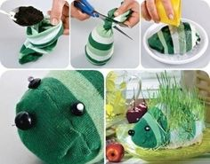 """<input class=""""jpibfi"""" type=""""hidden"""" >This sock hedgehog planter is adorable . It is a nice project for kids that they will love making them . And this is a good idea to recycle your old socks . It's very simple to make, all you need are socks , garden soil and seeds, beads for eyes and nose and plate…"""