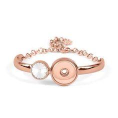 "Product # S1665  RG Reflection Bracelet  Reflection Bracelet. Rose Gold Tone. Comfortably fits 6""- 9"". Holds 18mm Original Snaps.     Price: $32.99"