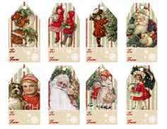 VINTAGE CHRISTMAS GIFT Tags. 8 Designs Instant Digital Downloads 300 Dpi Santa Vintage Children Red and Green Snow Flakes To and From 1 Jpg
