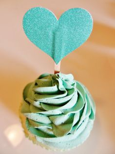 50 cents 12  turquoise Cupcake Toppers  by KraftedSweetMemories