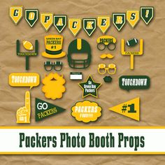 Printable Green Bay Packers Photo Booth Props and Party Decorations - Over 35 Images in PDF Format - INSTaNT DOWNLoAD on Etsy, $5.00
