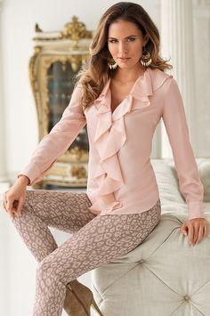 Long sleeve ruffle blouse from Boston Proper on Catalog Spree Only Fashion, Fashion Looks, Pink Wardrobe, Boston Proper, Blouse Styles, Nice Dresses, Ruffle Blouse, Long Sleeve, Sleeves