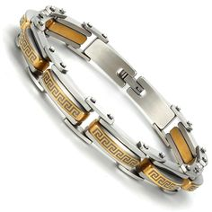 Industrial Greek Pattern 316L Stainless Steel Link Cuff Bracelet for Men (Gold, Silver). ✔ OLD MEETS NEW Ultra modern industrial features like exposed rivets combine with classic Greek key forms to make this bracelet very unique. ✔ GOES WITH EVERYTHING Mix of yellow gold and silver finishes allow this bracelet to match all cufflinks, rings, watches and bracelets. ✔ LUXURIOUS MATERIALS Bracelet is manufactured out of stainless steel, a hard-wearing strong metal that never tarnishes. ✔…