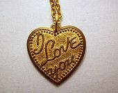 """Vintage """"I Love You"""" Heart Pendant / Necklace / Gold Tone / Jewelry / Jewellry / with Chain / Gift for Her"""