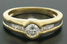 14K Solid Gold Split Bezel VS F .80 CTW Round Diamond Ring w/ Princess Accents #SolitairewithAccents