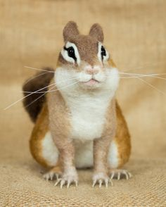 Dewey the Chipmunk: Needle felted animal sculpture by Megan Nedds of The Woolen Wagon
