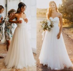 Elegant Tulle Beach Wedding Dresses 2016 Sweetheart Backless Lace Appliques Simple A Line Bridal Gowns Country Wedding Dress Sweep Train Cheap Wedding Dresses Online Corset Wedding Dresses From Blingbrides, $119.4| Dhgate.Com