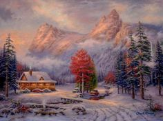 The home for Chuck Pinson- Art for Inspired Living with customizable inspirational art, beautiful landscape paintings, inspiring pictures, wildlife art, and Christian art. Landscape Art, Landscape Paintings, Carolina Do Norte, North Carolina, Snow Cabin, Arte Country, Ouvrages D'art, Cross Stitch Art, Wildlife Art