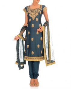 Indigo Blue Suit with Floral Pattern Indian Suits, Indian Dresses, Indian Wear, Indigo Blue Suit, Indiana, Bollywood Fashion, Bollywood Style, Ritu Kumar, India Colors