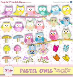 50% OFF PASTEL OWLS Clipart, Bird Clipart, Cute Owls, Easter Birds Clipart, Flowers, Butterflies, Tree Branch, Party Props, Invitations by FlairGraphicDesign on Etsy https://www.etsy.com/listing/224485949/50-off-pastel-owls-clipart-bird-clipart