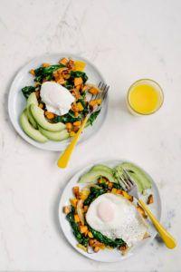 Sweet Potato Spinach Hash & Fried Eggs - Baliboosta