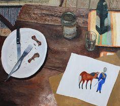Papá não-Trippy (e desenho de Julia Debasse), 2010 · oil on canvas ·80 × 80cm