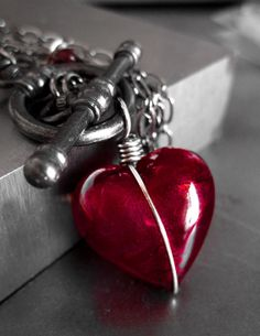 Heart of Darkness - Red Heart Pendant Necklace, Long Black Chain, Red Murano Glass Heart - Sexy Gift for Rocker Goth Gothic Girlfriend