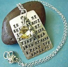 Fertility Goddess Scriptz  Hand Stamped Poem charm necklace in sterling silver with golden swarovski crystal by deborahmcgovern, $62.00