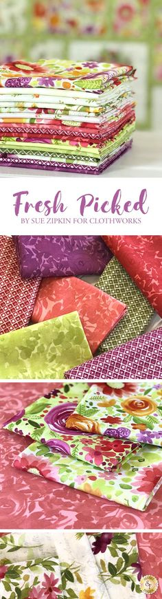 Fresh Picked by Sue Zipkin is a vibrant collection filled with beautiful floral prints and pretty colorways from Clothworks Fabrics available at Shabby Fabrics. Quilting Projects, Sewing Projects, Fabric Wreath, Shabby Fabrics, Gorgeous Fabrics, Cool Fabric, Textiles, Fabric Online, Fabric Dolls
