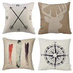 4 Packs Hippih Cotton Linen Sofa Home Decor Design Throw Pillow Case Cushion Covers 18 X 18 Inch Deer Antlers Feathers Compass Navigation Compass * Find out more about the great product at the image link. (This is an affiliate link) Sofa Pillows, Cushions, Throw Pillows, Linen Sofa, Couch Sofa, Cushion Covers, Pillow Covers, Cushion Pillow, Shops