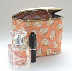 Orange Butterflies Cosmetics Bag | Peach Make up Pencil Case | Cosmetic Case | Makeup Pouch | Travel Bag