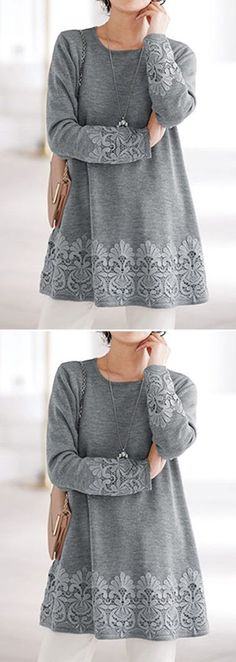 Round Neck Lace Panel Grey Blouse : liligal - USD $30.64  #blouse #grey #purchase  #womensclothing