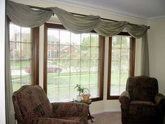 Window Treatments for Bay Windows | 5 Options For Bay Window- I already have white shades but I may go for some fabric to decorate a curtain rod, like in this pic....