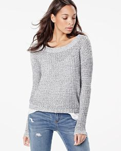 Two-tone tape yarn sweater with open back | RW&CO.