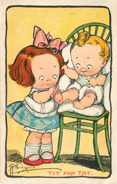 Postcard Artist Grace Wiederseim Grace Drayton Tit for Tat Children   eBay