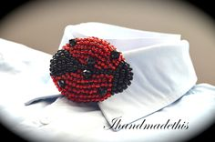 Beaded ladybug bow tie beads embroidery brooch by Ihandmadethis Handmade Jewelry, Unique Jewelry, Handmade Gifts, Women Bow Tie, Black Seed, Black Glass, Beaded Embroidery, Ladybug, Seed Beads