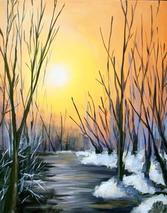 . Acrylic Painting Lessons, Sketch Painting, Painting Videos, Painting Techniques, Diy Painting, Polymer Clay Painting, Winter Painting, Diy Canvas Art, Learn To Paint
