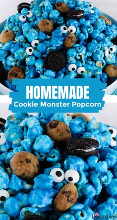 Yummy and adorable Cookie Monster Popcorn - sweet and salty popcorn mixed with mini cookies and googly monster eyes. Sweet Popcorn, Candy Popcorn, Cute Cookies, Mini Cookies, Monster Birthday Parties, Monster Party, How To Make Popcorn, Marshmallow Desserts, Easy To Make Desserts