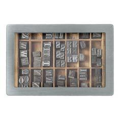 letterpress lead type in a case belt buckle