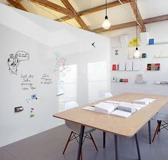 Magnetic glass acts as a room divider, a white board and a creative space. Creative Office Space, Office Space Design, Modern Office Design, Workspace Design, Office Workspace, Office Walls, Office Interior Design, Office Interiors, Office Designs