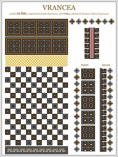 Semne Cusute: iie din Vidra, Vrancea, MOLDOVA Folk Embroidery, Embroidery Patterns, Cross Stitch Patterns, Knitting Patterns, Moldova, Hama Beads, Beading Patterns, Pixel Art, Traditional