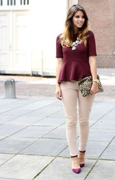 outfit borgoña y beige