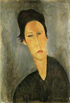 Amedeo Modigliani, Head of a Woman (Anna Zborowska) 1918–1919 Oil on canvas, 53.7 x 36.8 cm, Sainsbury Centre for Visual Arts, University of East Anglia, found at bbc.co.uk/arts