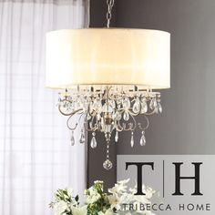 drum chandelier with drop crystals | TRIBECCA HOME Silver Mist Hanging Crystal Drum Shade Chandelier ...