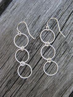 Circle Earrings Sterling Silver Triple Eternity by ESDesigns14, $18.00