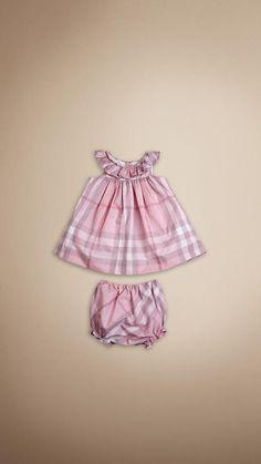 Check Frill Collar Dress   Burberry