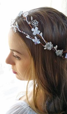 Boho Flower Hair wreath Bridal Halo White Gray by JoolaDesigns, $45.00