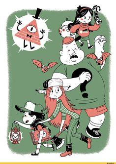 Gravity Falls: Dipper Pines, Mabel Pines, Wendy Corduroy, Soos, Bill Cipher, Waddles - ahirucafe (artist)