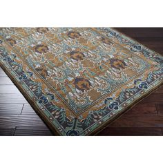 5x8 Arts & Crafts Mission Style Brown Blue Teal Hand Tufted Wool Area Rug | eBay - for colors.  I don't think they need a rug unless for the dining area (remove when my children visit).