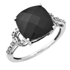 Cushion-Cut Onyx Buckle Ring in 10K White Gold with Diamond Accents