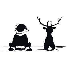 Weihnachtsmann Mit Rentier Wandtattoo