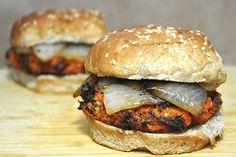 Maple Sweet Potato Pecan Burgers #vegan