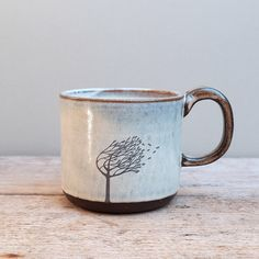 Ceramic Windy Tree Mug with Dark Handle by JuliaSmithCeramics